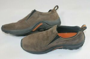Men's Merrell Dual Density Jungle Moc Slip-On Shoes Brown Suede Leather US 10
