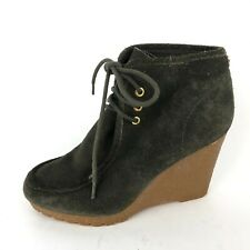 Michael Kors Womens 6.5 Green Suede Rubber Wedges Lace Up