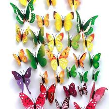 48pcs 4 Colours 3D Butterfly Magnet & Wall Stickers Fridge Home Room Decor