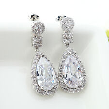 Classic Cubic Zirconia Drop earrings Bridal Tear Pear CZ  Zircon dangle Cluster