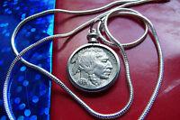"1937 INDIAN HEAD BUFFALO  Nickel Pendant on  24"" 925 Sterling Silver Snake Chain"