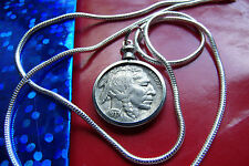 "Antique Handsome BUFFALO  Nickel Pendant on  24"" 925 Sterling Silver Snake Chain"