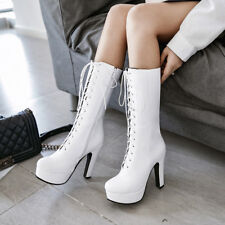 Womens Zip Block Lace Up High Heel Platform Mid Calf Boots Shoes AU Size 2-13