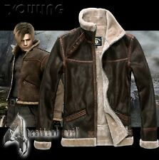 RESIDENT EVIL 4 LEON KENNEDY'S PU leather Faux fur Jackets Costume Cosplay