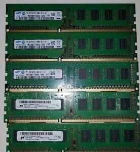 Lot of 5 RAM Stick 3 Samsung 2GB PC3 and 2 Micron 2GB PC3 USED