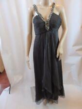CARLOS MIELE Dark Gray Silk Embellished Chiffron Sweat Neckline Gown Size 36