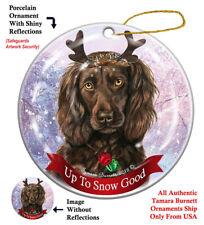 Holiday Pet Gifts Boykin Spaniel Brown Reindeer Dog Porcelain Christmas Ornament