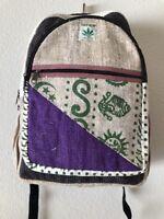 Hippie Eco Frendly Rucksack THC Free PURE Hemp Backpack School BAG Nepal Bp8