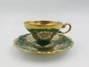Rosenthal Pompadour Kunstabteilung Demitasse Cup&Saucer Selb-Germany Green/Gold