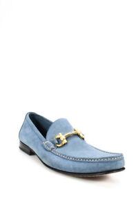 Salvatore Ferragamo Mens Suede Gancio Loafers Blue Size 11 D