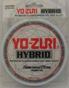YOZURI 6HB 6LB CAMO GREEN FLUOROCARBON NYLON HYBRID FISHING LINE 275 Yd 14289