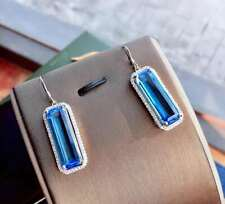Certified Natural Blue Topaz Earrings Silver Women Birthday Gifts