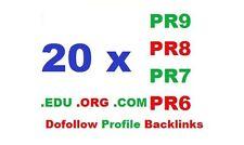 Manually Dofollow 20 HIGH PR6 PR7 PR8 and PR9 .edu .org .com profile backlinks!