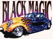 SEXY BLACK MAGIC RARE CLASSIC VINTAGE HOT ROD GOLD FLAMES  MINT STICKER/DECAL