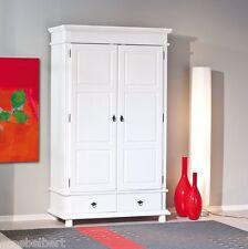 KLEIDERSCHRANK im Landhausstil, Massivholz-weiß,  2 Türen, 2 Schubladen NEU