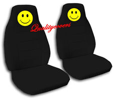 2 Front Black Smiley Face Seat Covers Universal Size