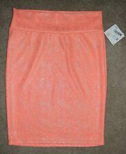 New LuLaRoe Skirt Cassie Straight Pencil Orange Silver Shimmer Metallic XL