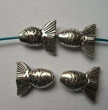 15pcs Tibetan silver fish charms spacer bead 16x14x6 mm