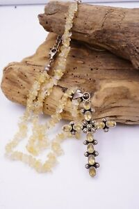 Rare SILPADA Retired Cross N1007  925 Sterling Silver Citrine Nuggets Necklace