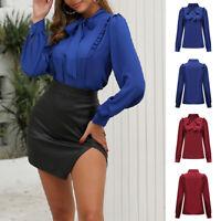 Elegant Ladies Tops Solid Long Sleeved Shirts Ruffle Bowknot Slim Office Blouse
