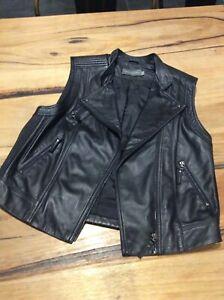 Aurelio  Costarella Ladies Black Leather Vest Size 2