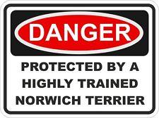 Dog Breed NORWICH TERRIER Danger Sticker Pet for Bumper Locker Car Door