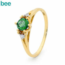 Gold Emerald Solitaire Fine Rings