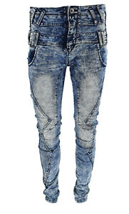New Mens Frayed Iced Wash Slim Stretch Distressed Ripped Denim Jeans Trousers UK