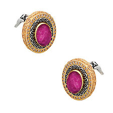 S234 ~ Sterling Silver and Rubies Large Stud Earrings