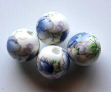 30pcs 10mm Round Porcelain/Ceramic Beads - White / Blue Peony Flowers
