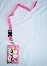 Pink Disney Princesses Lanyard Zipper Wallet Pouch Fast Passes Id Badge Holder