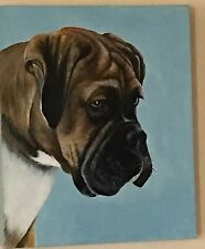Original Painting Boxer Dog Canvas New Zealand Artist Tui Signed