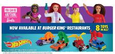 BURGER KING/MATTEL - BARBIE / HOT WELS APRIL 2020 - FULL SET 8 TOYS - NEW