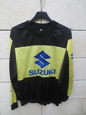 VINTAGE Maillot MOTO CROSS SUZUKI noir jaune années 80 shirt trikot maglia S