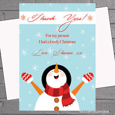 Personalised Christmas Thank you cards Message Snowman x12 with envs H0908