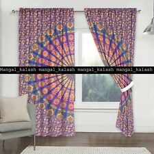 Indian peacock cotton mandala tapestry drapes window door valances curtain set