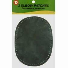 2 Natural Suede Leather Sew-On Elbow Repair Patches 4.5 x 5.5 in - Dk. Green
