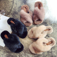 Womens Fur Slippers Rabbit Fluffy Outdoor Sandals Lady Cross Slip-On Mules Shoes