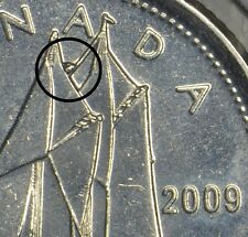 CANADA 10 CENTS 2009L with a large DIE CHIP over the sails -circulated