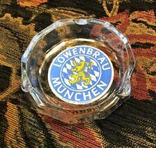 "Vintage Lowenbrau Munchen German 4"" Ashtray Heavy Clear Glass Yellow & Blue Logo"