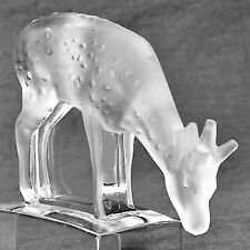 """FAWN Lalique FROSTED CLEAR Crystal NEW IN BOX Made in France 3.25"""" tall #11804"""
