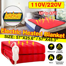 110V/220V Electric Heated Plush Throw Blanket Fast Heating Pain Relief w/