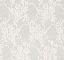 WHITE Vintage Stretch Floral Lace 4 way poly Lycra spandex Fabric By The Yard