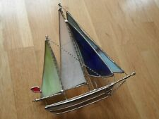 Vintage Decorative Stained Glass Sailing Boat Yacht Nautical Very Old Chrome