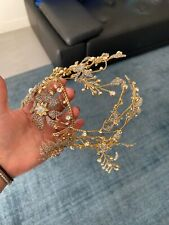 Swarovski Crystal Gold bridal headdress/ Headpiece