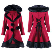 Vintage Gothic Medieval Trench Coat Women's Winter Hooded Lace Up Back Outerwear