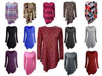 New Womens Ladies Plus Size Tops Long Sleeve Round Neck Tunic Diamond Style
