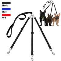 Adjustable 3 Way Nylon Coupler Dog Pet Lead Leash No Tangle with Padded Handle