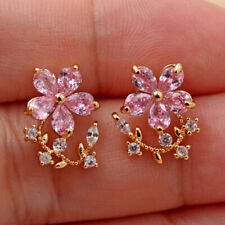 18K Gold Filled - Elegant Pink Flower Swirl Vine Leaf Topaz Stud Gem Earrings DS