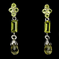 Briolette Lemon Quartz Peridot 14k White Gold Plate 925 Sterling Silver Earrings